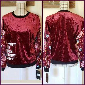 Disney Princess Mulan Red Velvet Floral Sweater